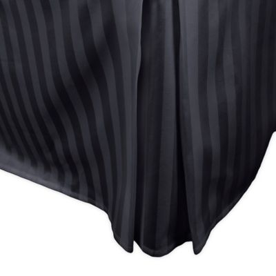 damask stripe twin bed skirt in black