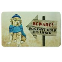 """Bacova """"BEWARE! DOG CAN'T HOLD HIS LICKER"""" 17.5-Inch x 29-Inch Kitchen Mat in Beige"""
