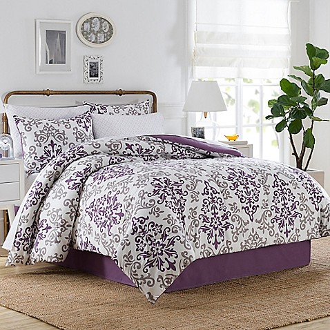 lea 6 8 comforter set in purple white bed bath 6 8 comforter set in purple bed bath amp beyond 794