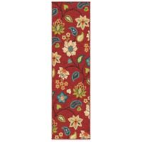 Aria Rugs Veranda Collection Garden 2-Foot 3-Inch x 8-Foot Chintz Runner in Red
