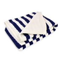 Just Born® Awning Stripe Cable Knit Blanket in Navy/White