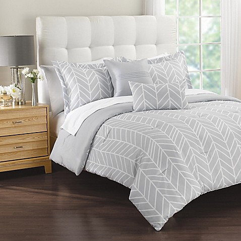Lauren 5 Piece Comforter Set In Grey Bed Bath amp Beyond