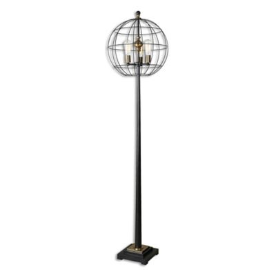 uttermost palla floor lamp in aged black with cage shade - Uttermost Lights