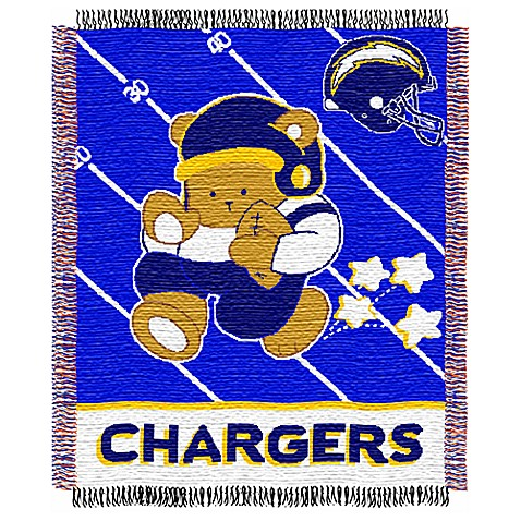 Nfl San Diego Chargers Woven Jacquard Baby Blanket Throw