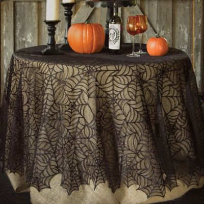 Heritage Lace® Spider Web 90 Inch Round Tablecloth In Black