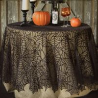 Heritage Lace® Spider Web 90-Inch Round Tablecloth in Black