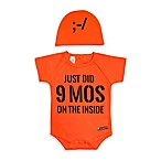 "Sozo® Size 0-3M 2-Piece ""Just Did 9 Months"" Bodysuit and Cap Set in Orange"