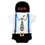 Sozo® Size 3-6M 2-Piece CEO Bodysuit and Cap Set in White/Black