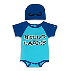 Sozo® Size 0-3M 2-Piece Hello Ladies Bodysuit and Cap Set in Blue