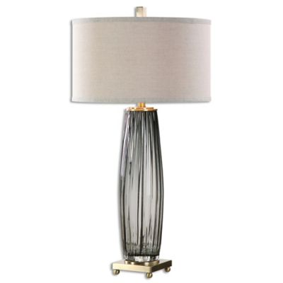 Uttermost Vilminore Table Lamp In Charcoal Grey With Beige Shade