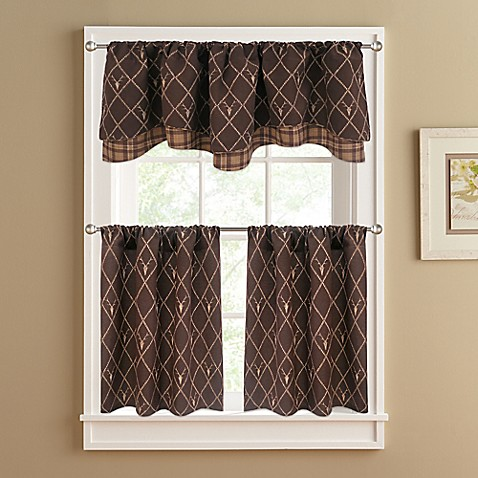 Oh Deer Double Layer Window Valance In Brown Bed Bath