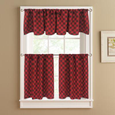 Beau Lumberjack 36 Inch Window Curtain Tier Pair In Red