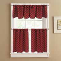 Lumberjack 36-Inch Window Curtain Tier Pair in Red