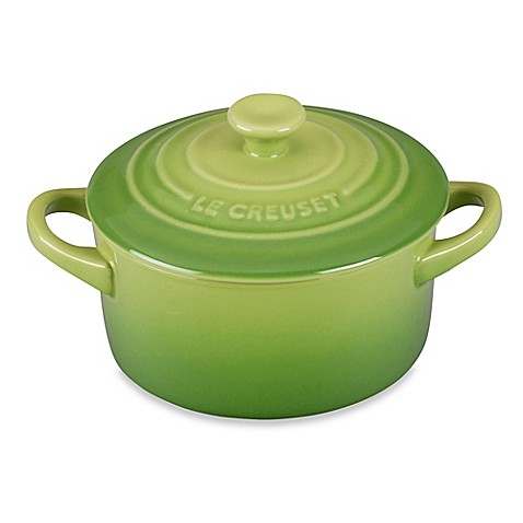 buy le creuset mini round stoneware cocotte in palm from bed bath beyond. Black Bedroom Furniture Sets. Home Design Ideas