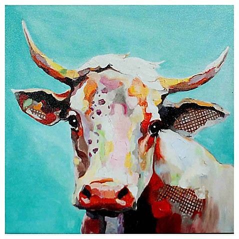 molly cow whimsical animals canvas wall art - bed bath & beyond