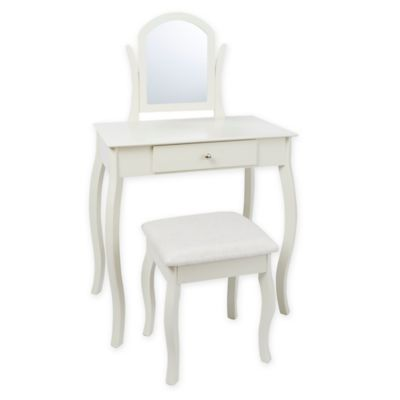 traditional vanity set with curved accents in ivory