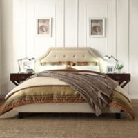 Verona Home Ainslie Button Tufted Full Platform Bed in Oatmeal