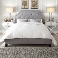 Verona Home Ainslie Button Tufted Queen Platform Bed in Grey