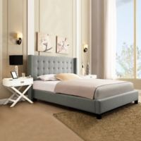 Verona Home Kensington Wingback Platform Queen Bed in Grey