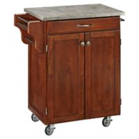 Home Styles Cuisine Cart with Concrete Top in Cherry