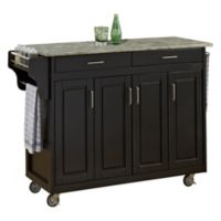Home Styles 4-Door Create-a-Cart with Concrete Top in Black