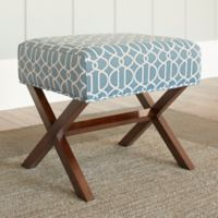 Chatham House Upholstered Ottoman with Wood Legs in Blue