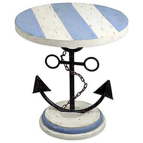 Good 22 Inch Wood Anchor End Table In Blue/White