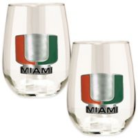 University of Miami Stemless Wine Glass (Set of 2)