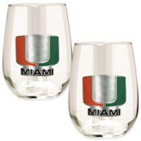 University of Miami Stemless Wine Glass (Set of 2)