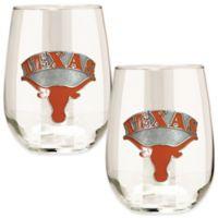 University of Texas Stemless Wine Glass (Set of 2)