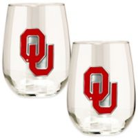 University of Oklahoma Stemless Wine Glass (Set of 2)