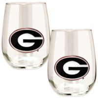 University of Georgia Stemless Wine Glass (Set of 2)