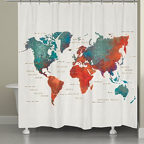 World map shower curtain bed bath and beyond - Laural Home 174 Colorful Map Shower Curtain Quot Is Not Available For Sale