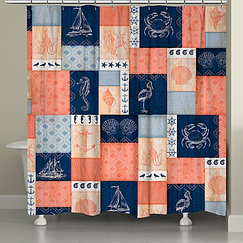 Laural HomeR Coral And Navy Coastal Shower Curtain