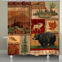 Laural Home® Lodge Collage Shower Curtain in Brown