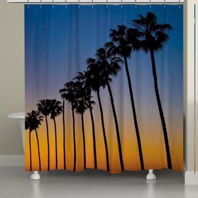 Laural Home® Sunset Palms Shower Curtain - Buy Palm Tree Shower From Bed Bath & Beyond