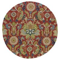 Kaleen Home & Porch 7-Foot 9-Inch Damask Floral Round Indoor/Outdoor Rug in Red