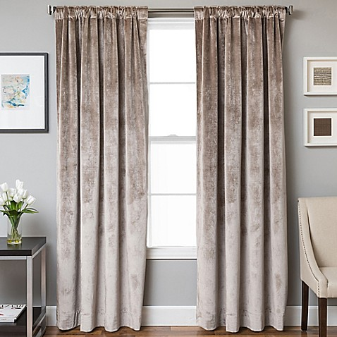 Velvet Rod Pocket Back Tab Lined Window Curtain Panel