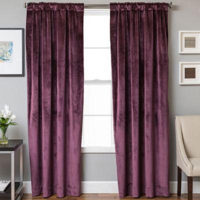 Velvet Rod Pocket/Back Tab 63 Inch Lined Window Curtain Panel In Plum