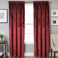 Velvet Rod Pocket/Back Tab 63-Inch Lined Window Curtain Panel in Crimson