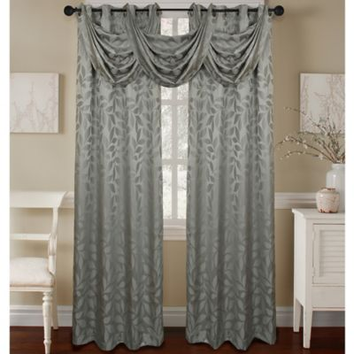 Constance Textured Jacquard Waterfall Valance In Blue