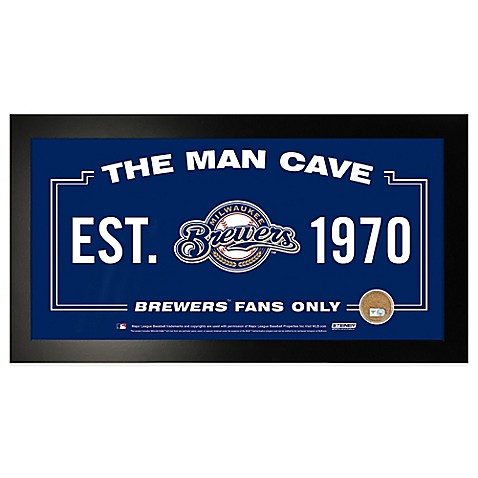 Buy Mlb Milwaukee Brewers Large Framed Man Cave Sign From