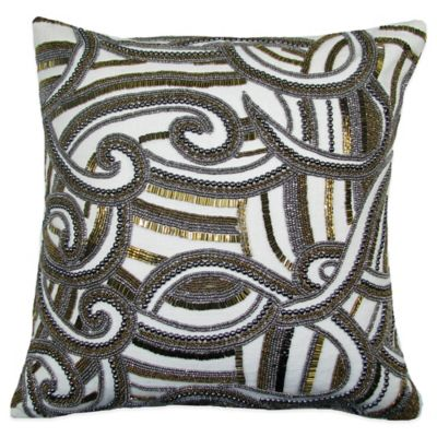 charisma swirl square beaded throw pillow in goldsilver