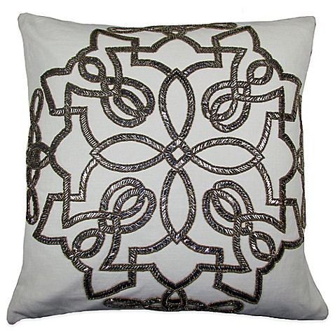 Silver Beaded Decorative Pillow : Tegel Beaded Square Throw Pillow in Gold/Silver - Bed Bath & Beyond