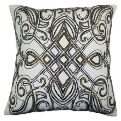 festivo beaded square throw pillow in goldsilver