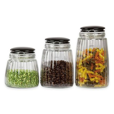 Etonnant Home Basics® Glass Canisters With Ceramic Lid (Set Of 3)