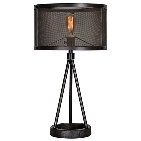 Ren Wil Livingstone Table Lamp In Black With Metal Mesh