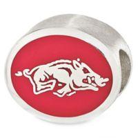 Sterling Silver Collegiate University of Arkansas Tusk Enameled Charm Bead