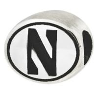 Sterling Silver Collegiate Northwestern University Antiqued Charm Bead