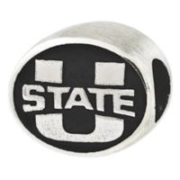 Sterling Silver Collegiate Utah State University Antiqued Charm Bead